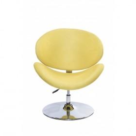 Poltrona Decorativa Designchair Flora Base Disco Cromada Amarela