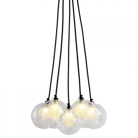 Pendente com Estrutura em Metal Preto Fosco e Vidro Translúcido 5 Lâmpadas G9 Circle Lights - Pier
