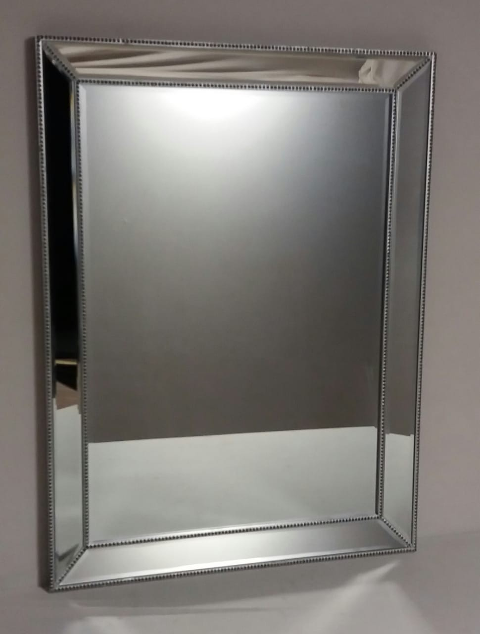 Espelho Retangular com detalhes Prata - frontier