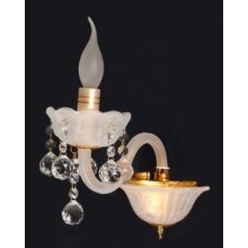 Arandela Branca com Cristais Transparentes e Acabamento em Dourado 1 Lampada Piemonte - Sigma
