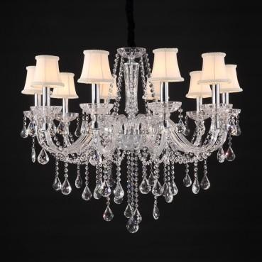 Lustre de Aço Cromado de Vidro, Cúpula e Cristal 10 Lâmpadas +Luz Iluminação
