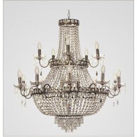 Lustre Imperial Ouro Velho com Cristais Transparentes 15 Braços - Tupiara