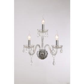 Arandela de Cristal Maria Thereza Transparente 3 Lâmpadas