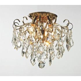 Plafon Malipiero Metal Dourado com Cristais Transparentes 4 Lâmpadas -Tupiara