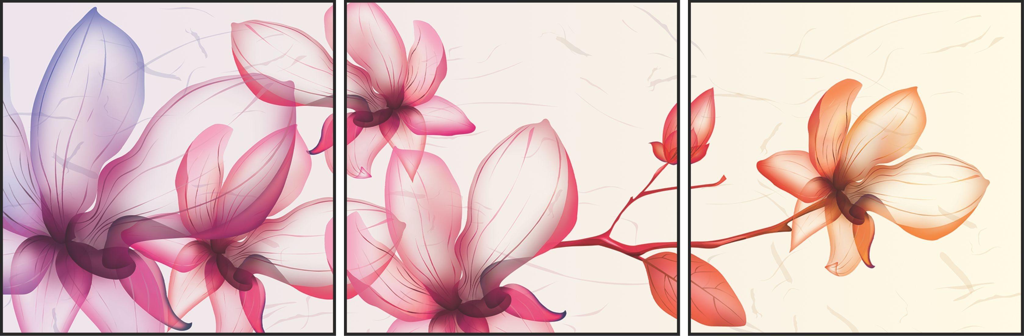 Quadros 3D com flores e moldura em alumínio