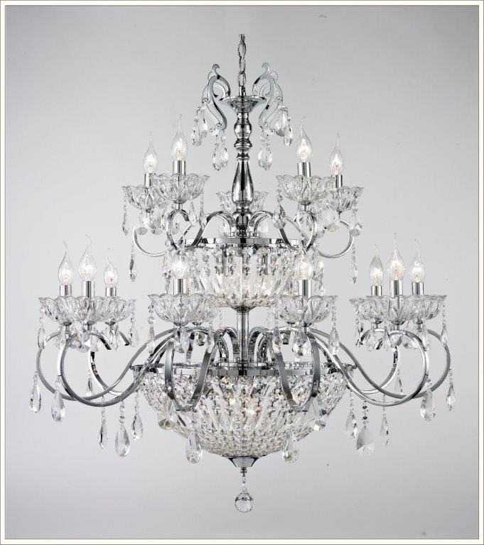 Lustre de Metal Cromado e Cristais Transparentes 15 Lâmpadas E14 Alexandra - Tupiara