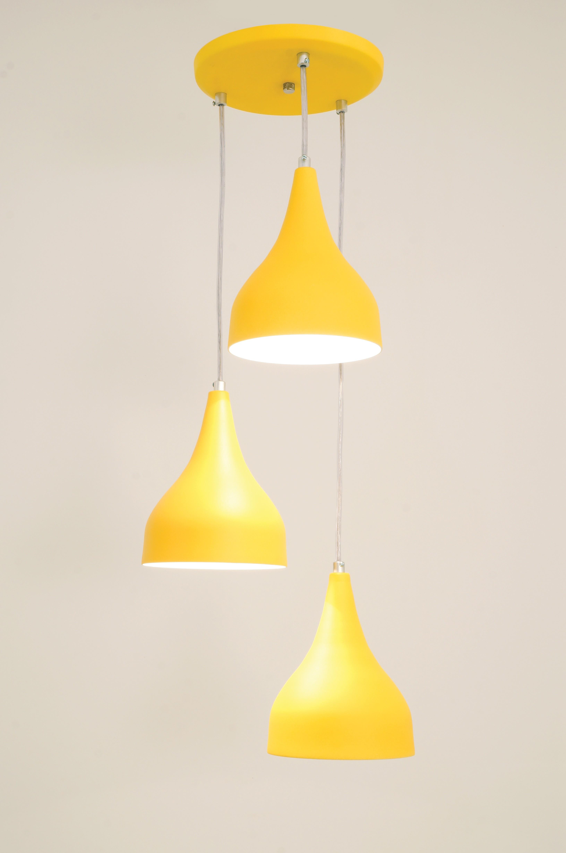 Pendente Ibiza 3 Lâmpada Amarelo - Auremar